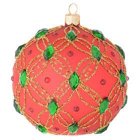 Bola de Navidad de vidrio soplado rojo y piedras verdes 100 mm s2