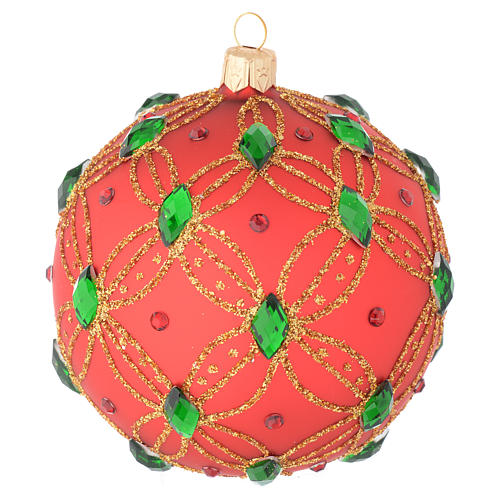 Christmas bauble in red blown glass with green stones 100mm 1