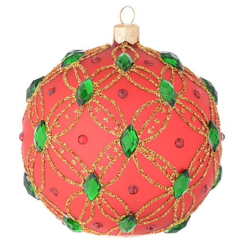 Christmas bauble in red blown glass with green stones 100mm 2