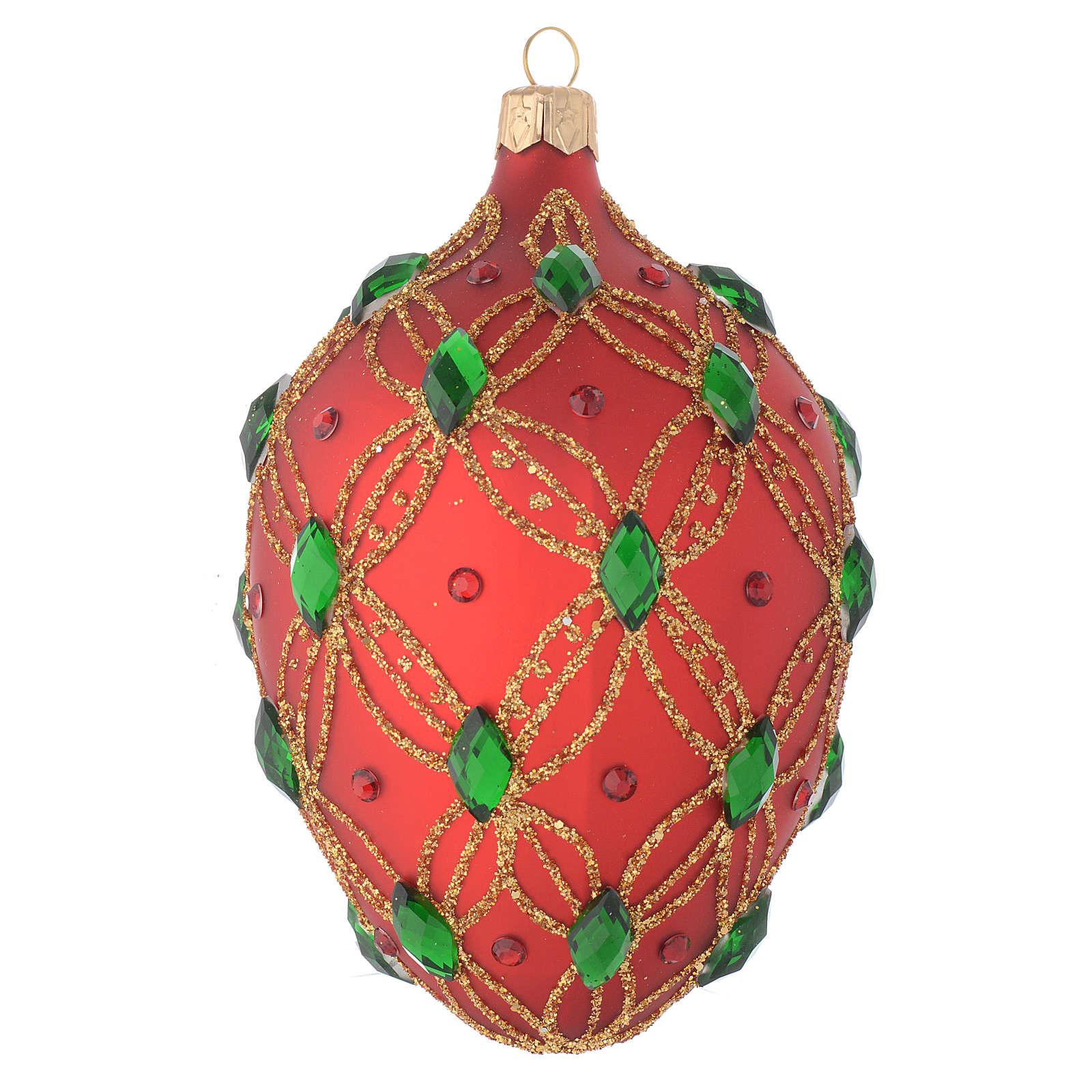 Bola de Navidad oval de vidrio soplado rojo y piedras verdes 130 mm 4