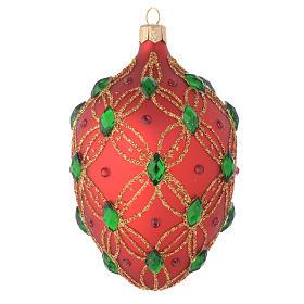 Bola de Navidad oval de vidrio soplado rojo y piedras verdes 130 mm s1