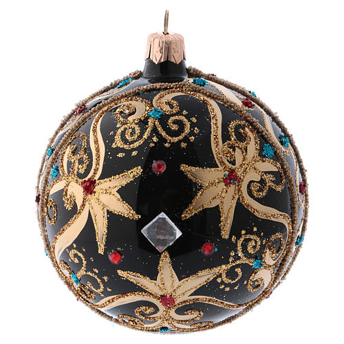 Bauble in black and gold blown glass with red stones 100mm 1