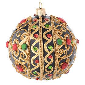 Bola de Navidad vidrio negro y oro y piedras rojas 100 mm s2