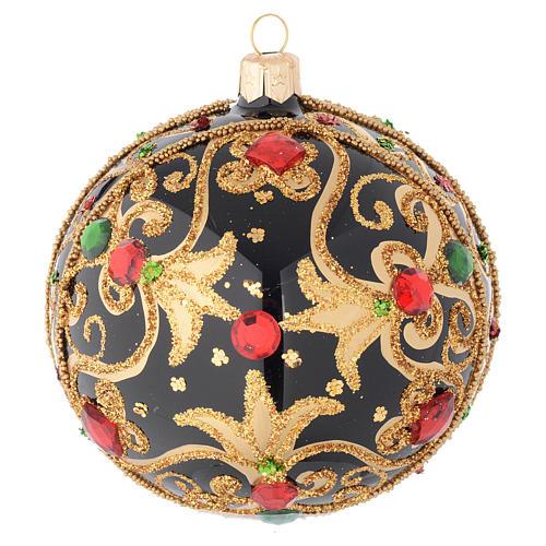 Bola de Navidad vidrio negro y oro y piedras rojas 100 mm 1