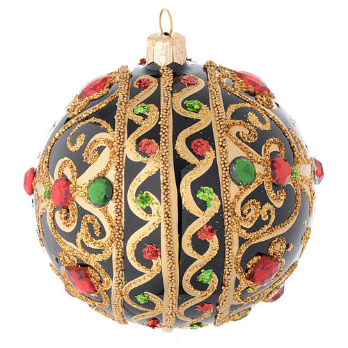 Bola de Navidad vidrio negro y oro y piedras rojas 100 mm 2