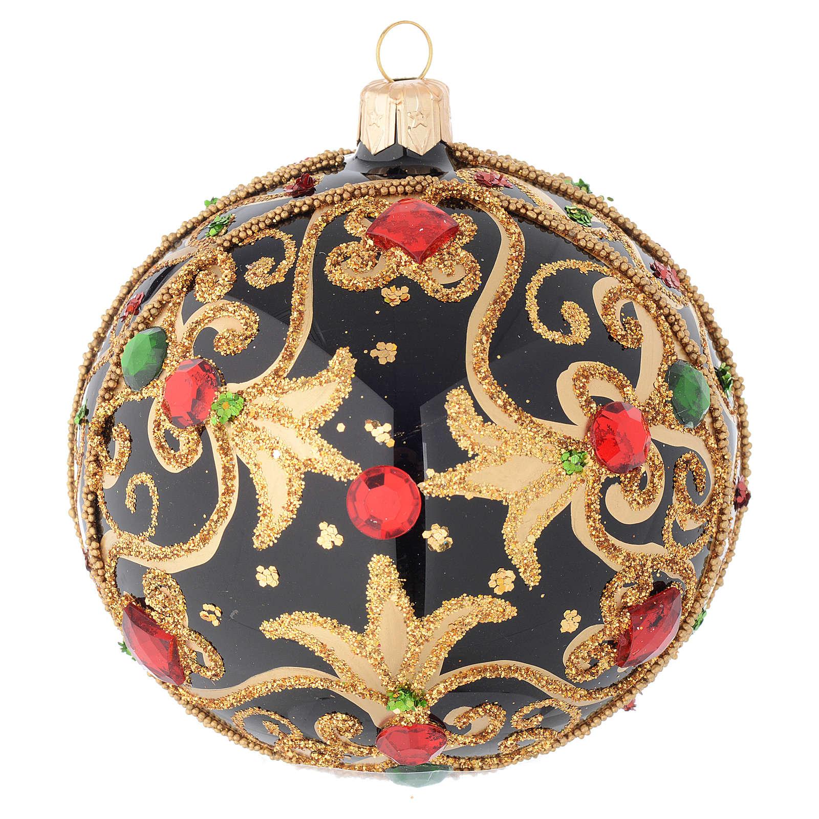 Pallina Natale nero e oro pietre rosse 100 mm 4