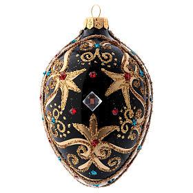 Bolas de Navidad: Bola de Navidad oval de vidrio negro y oro y  piedras rojas 130 mm