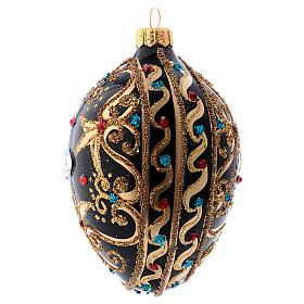 Bola de Navidad oval de vidrio negro y oro y  piedras rojas 130 mm s2