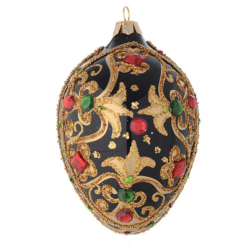 Bola de Navidad oval de vidrio negro y oro y  piedras rojas 130 mm 1