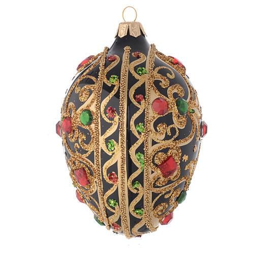 Bola de Navidad oval de vidrio negro y oro y  piedras rojas 130 mm 2