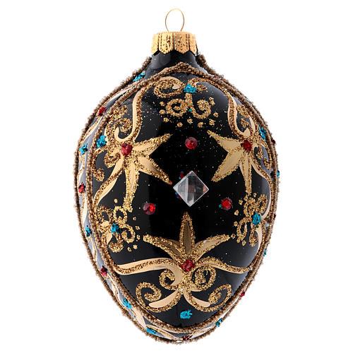 Bola de Navidad oval de vidrio negro y oro y  piedras rojas 130 mm 3