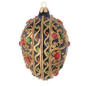 Palla uovo nero e oro pietre rosse 130 mm s2