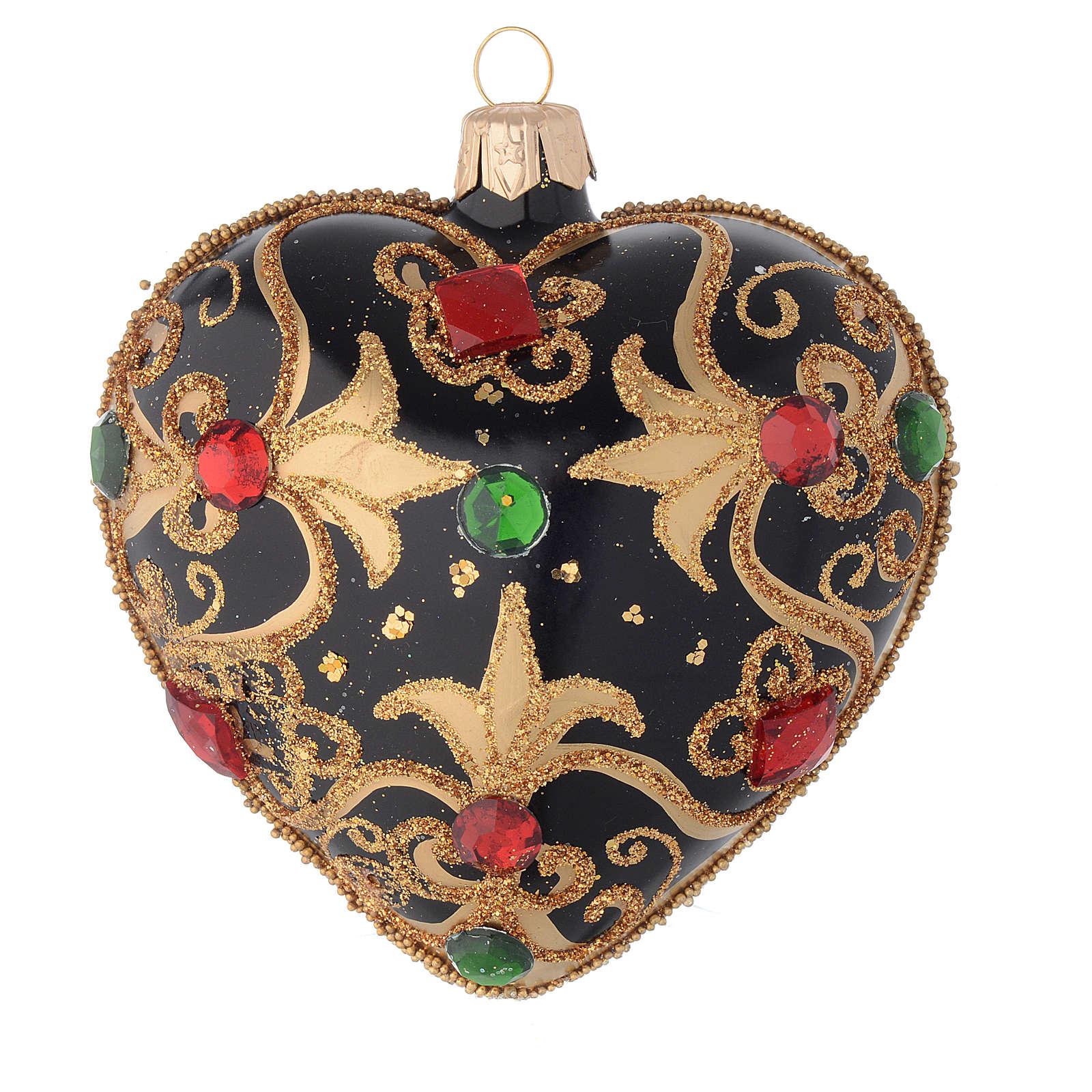 Bola de Navidad corazón vidrio negro y oro y piedras rojas 100 mm 4