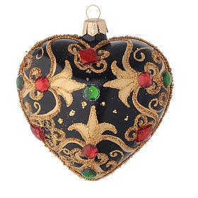Bola de Navidad corazón vidrio negro y oro y piedras rojas 100 mm s1