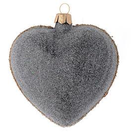 Bola de Navidad corazón vidrio negro y oro y piedras rojas 100 mm s2