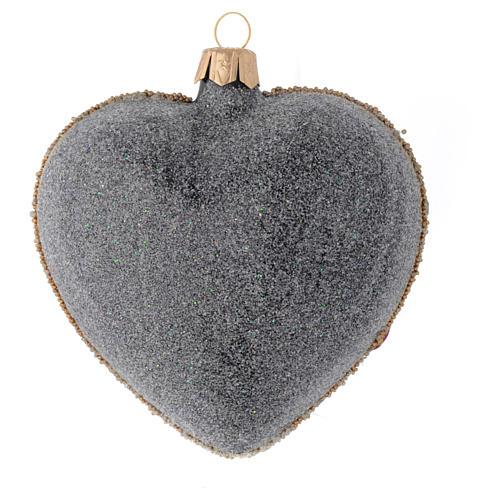 Bola de Navidad corazón vidrio negro y oro y piedras rojas 100 mm 2