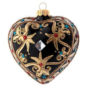 Cuore Natale nero e oro pietre rosse 100 mm s3