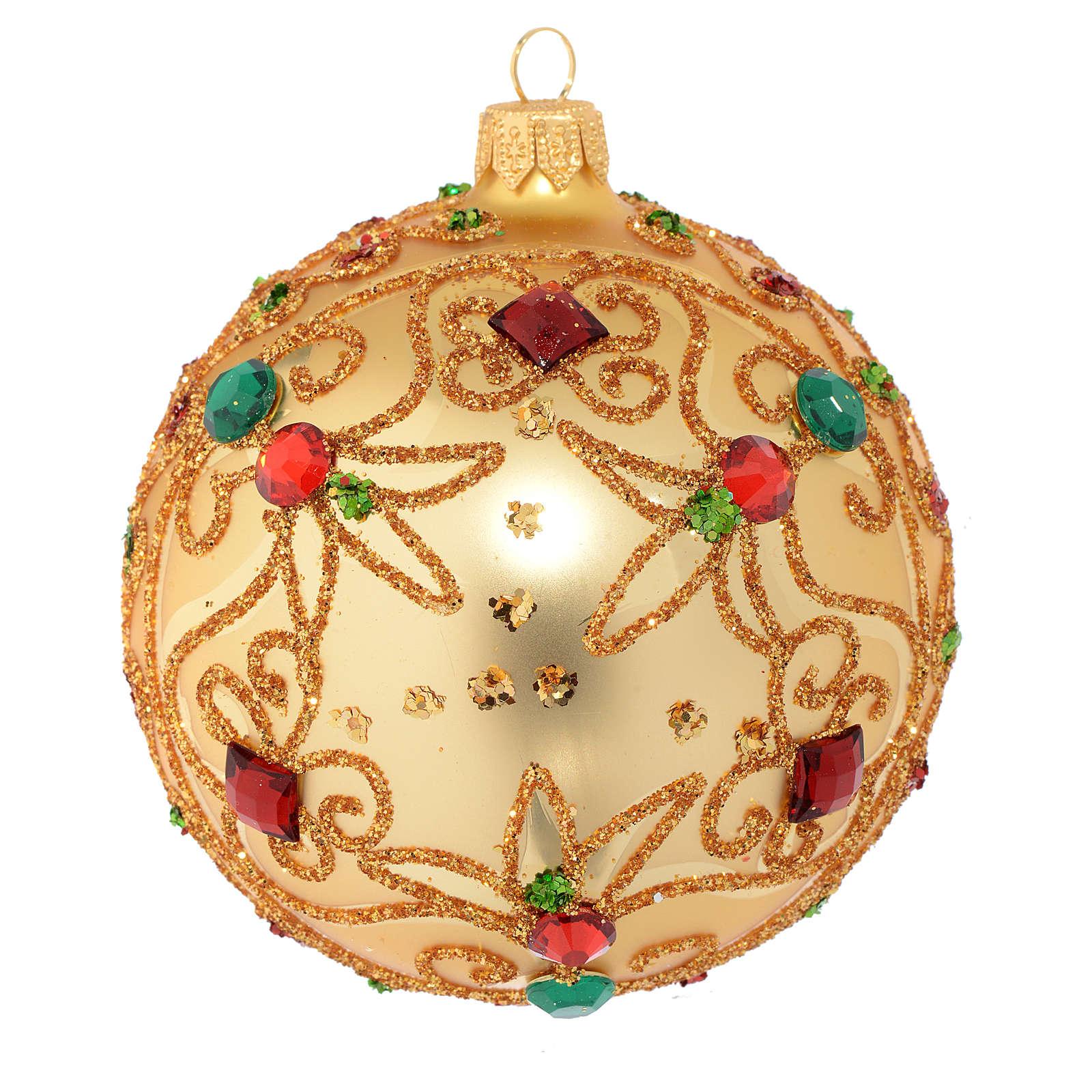 Pallina vetro soffiato oro e pietre 100 mm 4