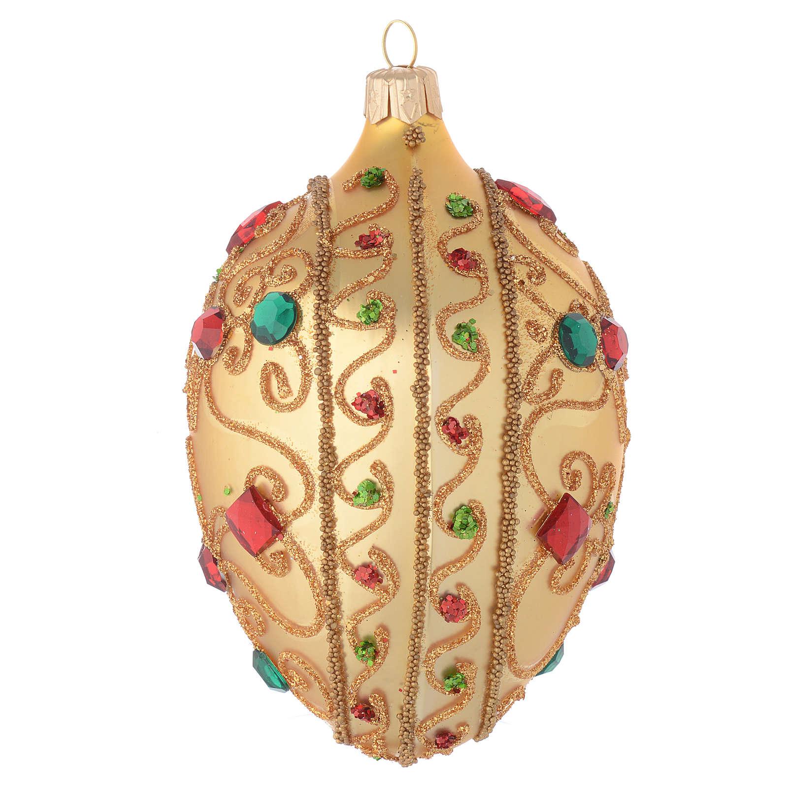 Bola de Navidad oval de vidrio soplado oro y piedras 130 mm 4