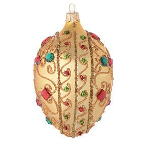 Bola de Navidad oval de vidrio soplado oro y piedras 130 mm s2
