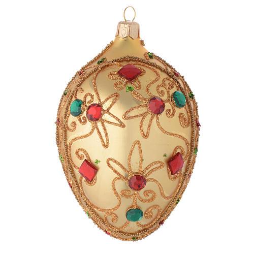 Bola de Navidad oval de vidrio soplado oro y piedras 130 mm 1