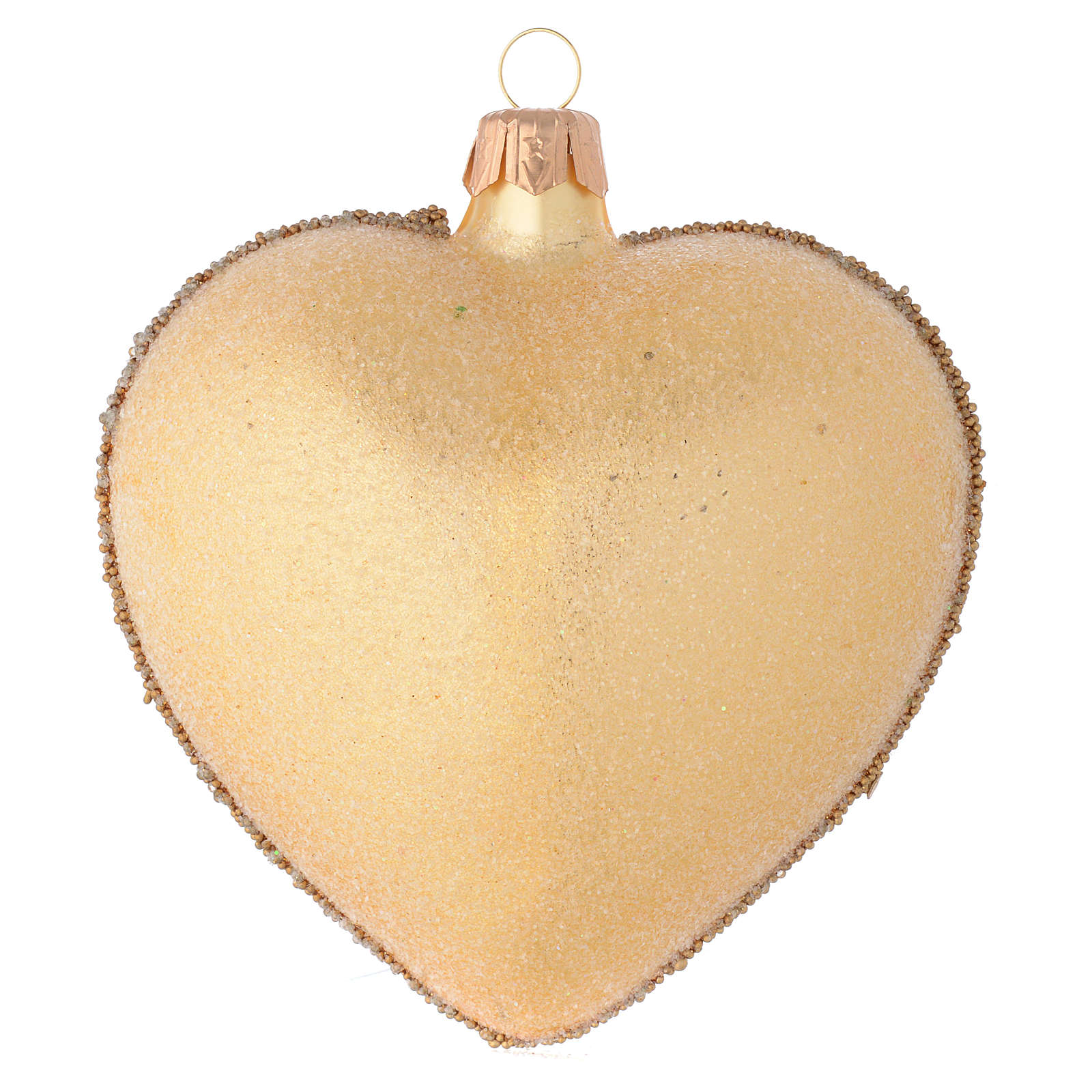 Heart Shaped bauble in gold blown glass with stones 100mm 4