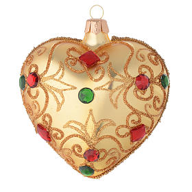 Heart Shaped bauble in gold blown glass with stones 100mm s1