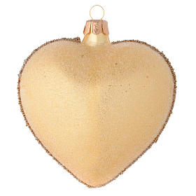 Heart Shaped bauble in gold blown glass with stones 100mm s2