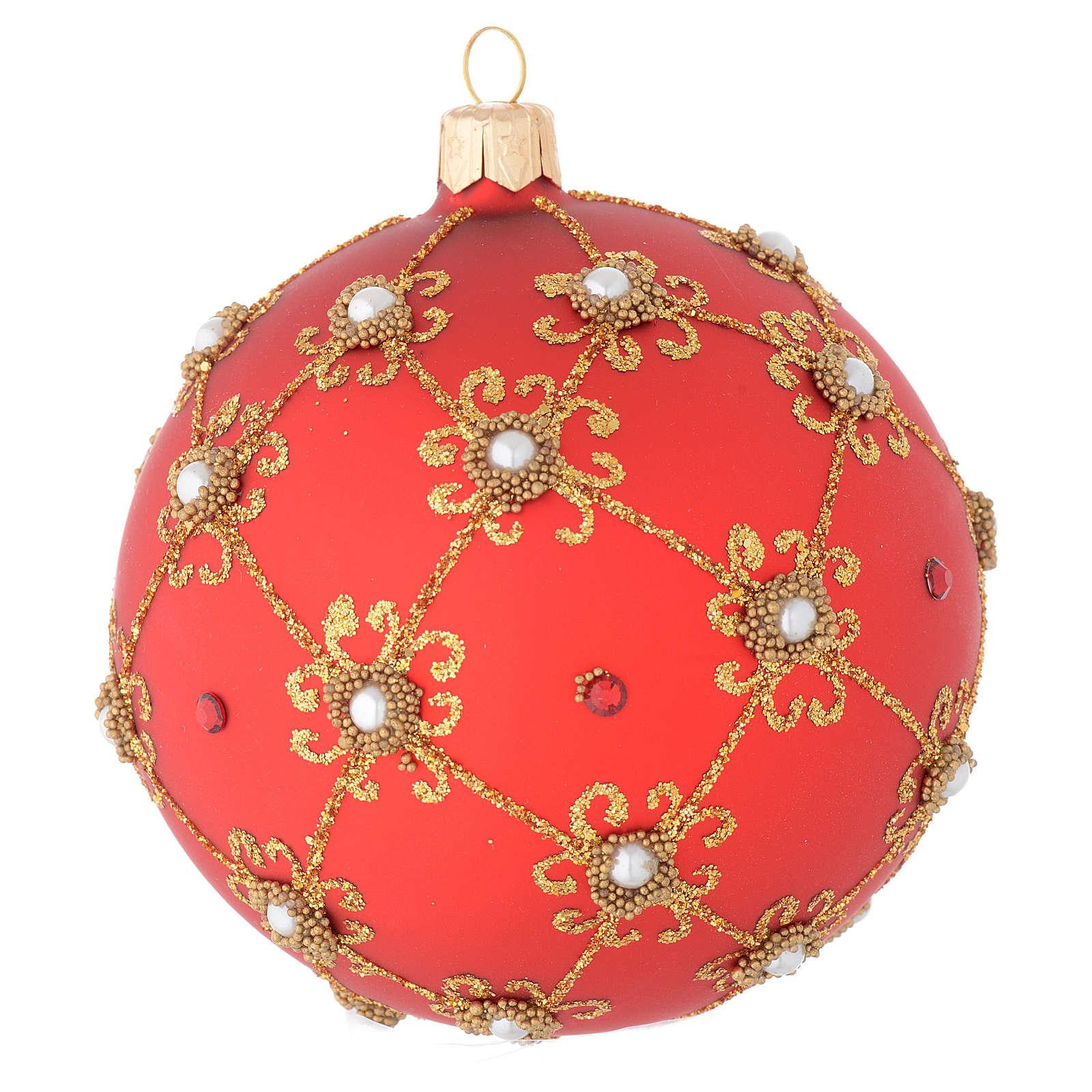 Bola de Navidad con perlas, de vidrio soplado rojo y oro 100 mm 4