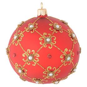 Bola de Navidad con perlas, de vidrio soplado rojo y oro 100 mm s1