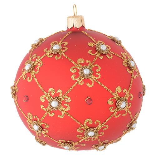 Bola de Navidad con perlas, de vidrio soplado rojo y oro 100 mm 1