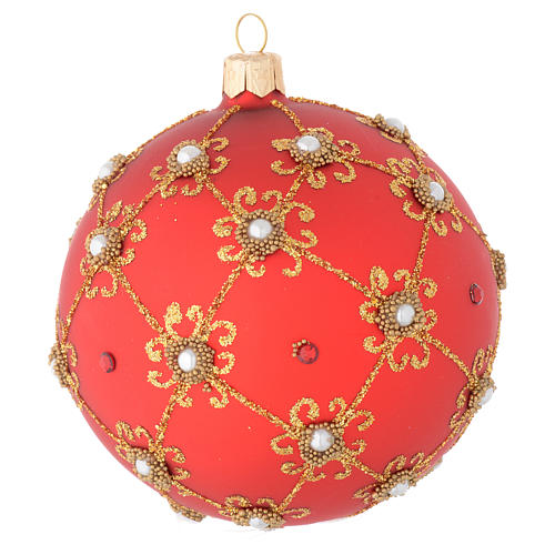 Bola de Navidad con perlas, de vidrio soplado rojo y oro 100 mm 2