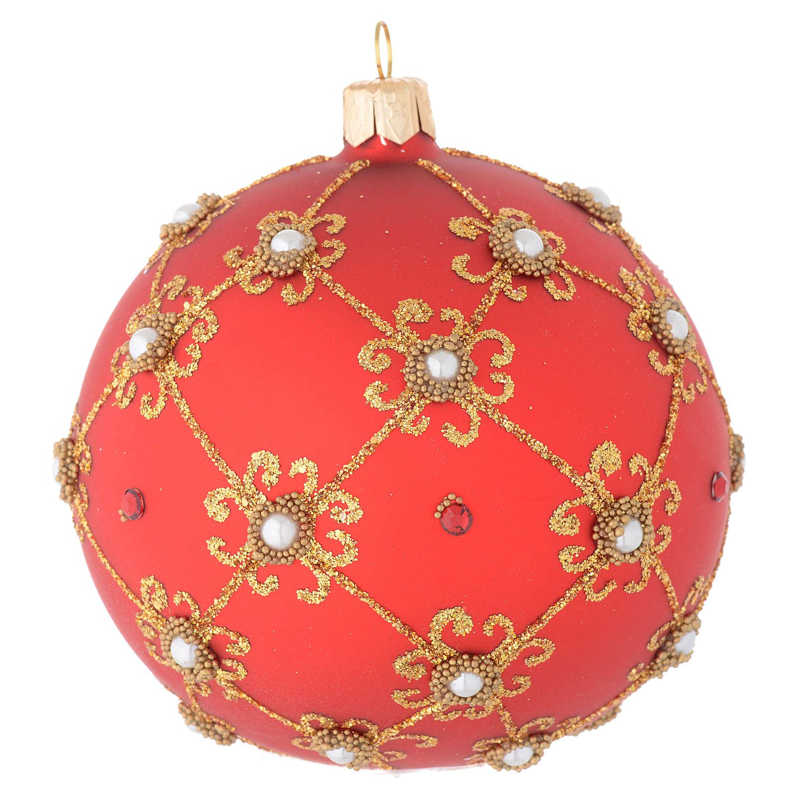 Pallina vetro soffiato perle, rosso e oro 100 mm 4