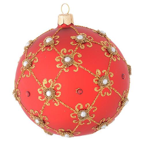 Pallina vetro soffiato perle, rosso e oro 100 mm 2