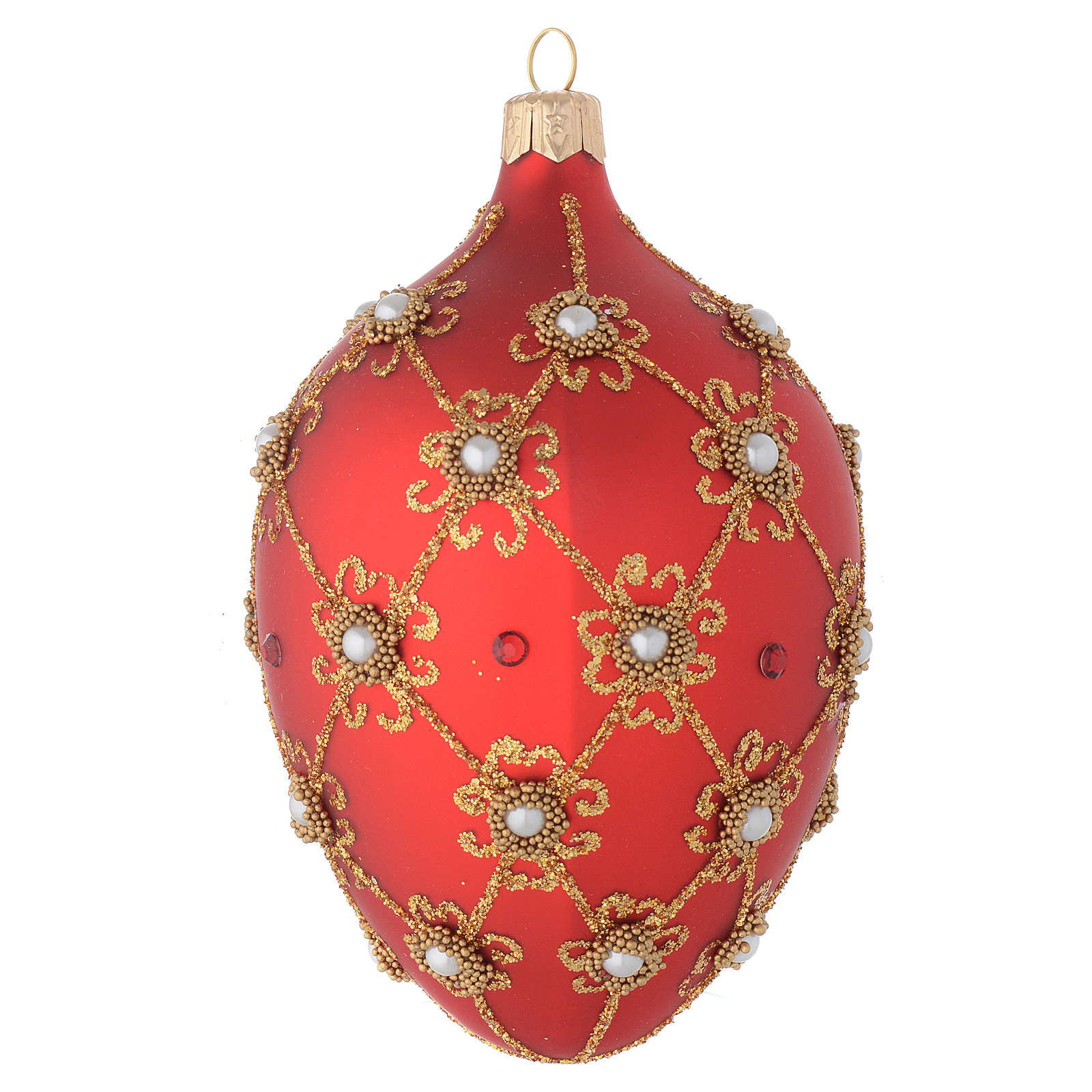 Oval bauble in red blown glass with pearls and gold decorations 130mm 4