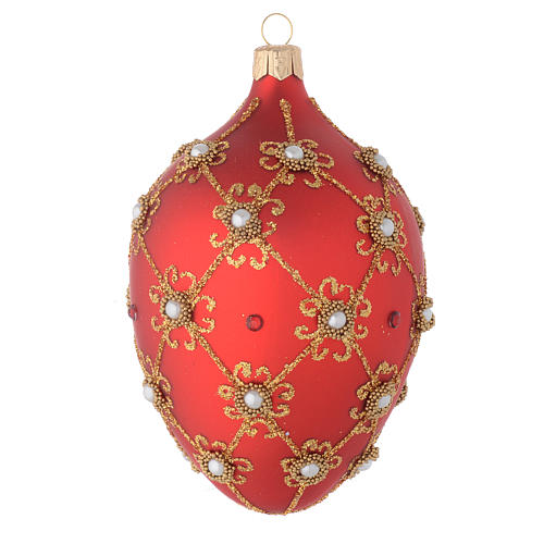 Oval bauble in red blown glass with pearls and gold decorations 130mm 1
