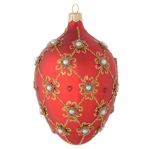 Oval bauble in red blown glass with pearls and gold decorations 130mm 2