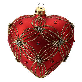Heart Shaped bauble in red blown glass with pearls and gold decorations 100mm s3