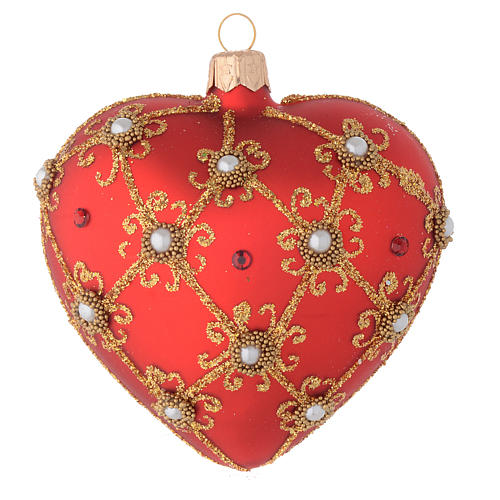 Heart Shaped bauble in red blown glass with pearls and gold decorations 100mm 1