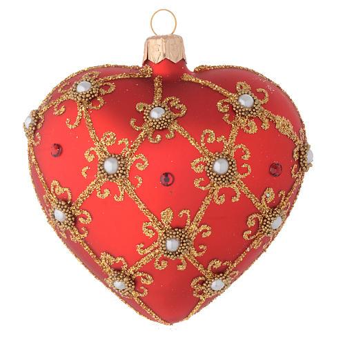 Bola de Navidad corazón corazón de vidrio soplado rojo y oro 100 mm 1