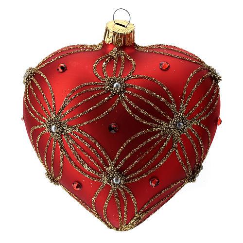 Bola de Navidad corazón corazón de vidrio soplado rojo y oro 100 mm 3