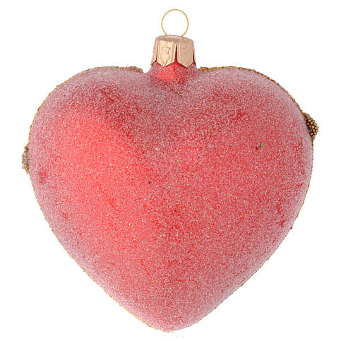 Heart Shaped bauble in red blown glass with pearls and gold decorations 100mm 2