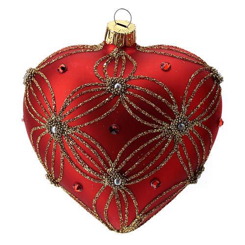 Heart Shaped bauble in red blown glass with pearls and gold decorations 100mm 3