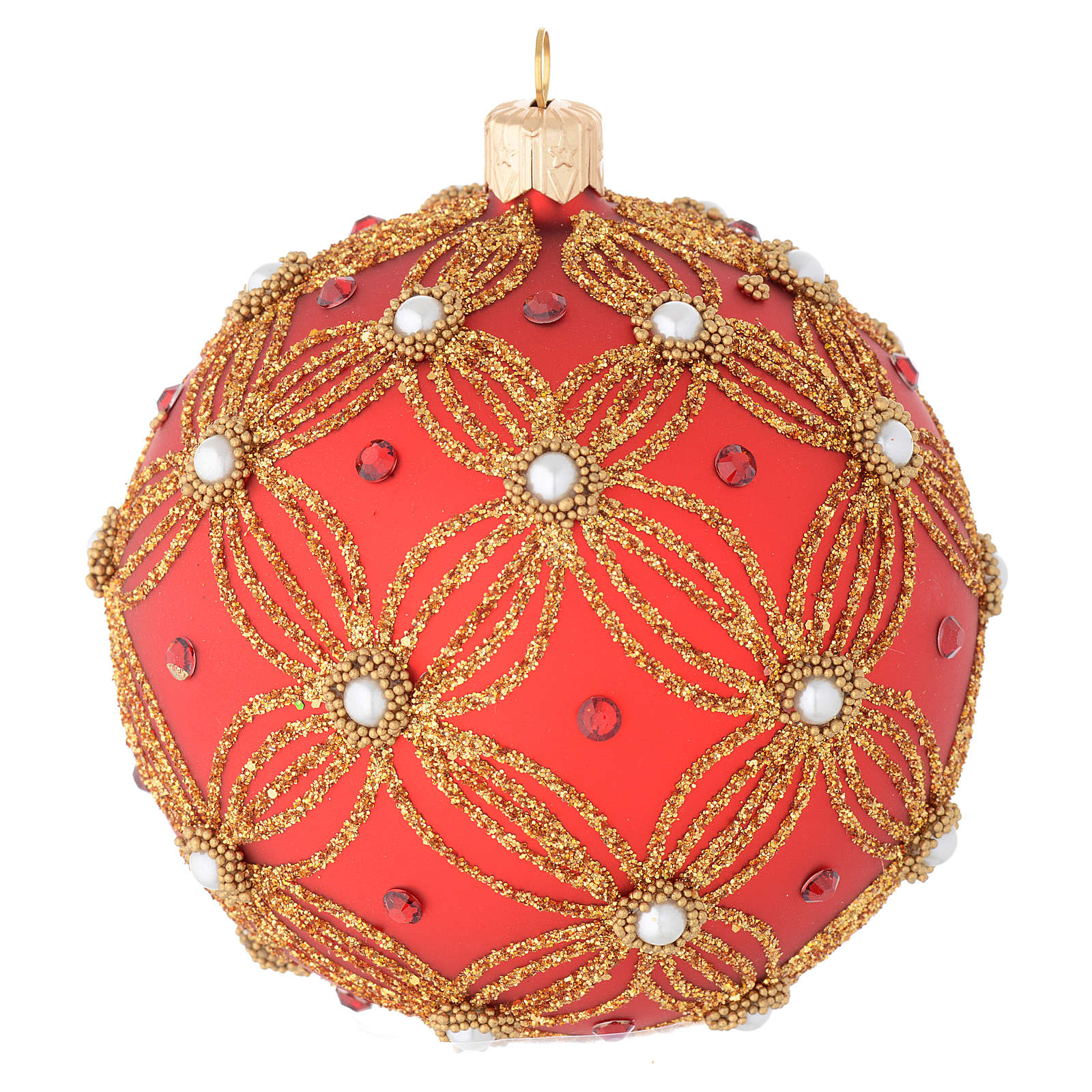 Bauble in red and gold blown glass with pearls 100mm 4