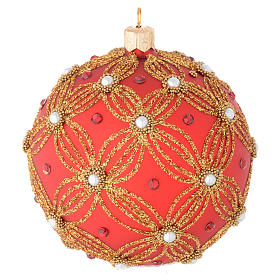 Bauble in red and gold blown glass with pearls 100mm s1
