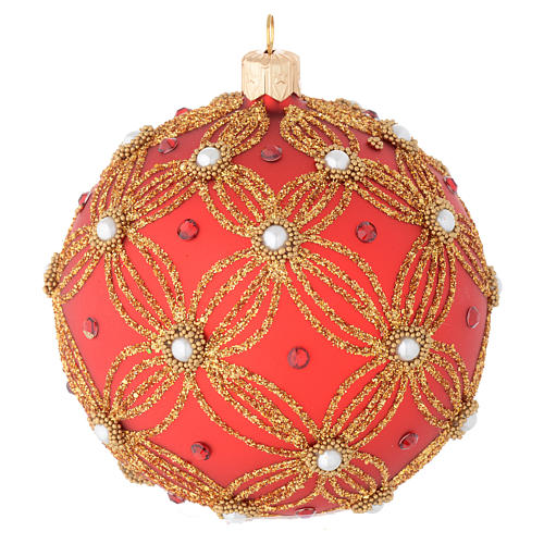 Bauble in red and gold blown glass with pearls 100mm 1