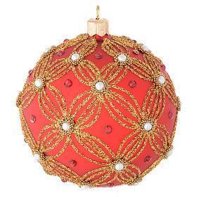 Bola de Navidad de vidrio soplado rojo con perlas y decoraciones oro 100 mm s1
