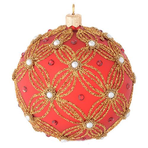 Bola de Navidad de vidrio soplado rojo con perlas y decoraciones oro 100 mm 1