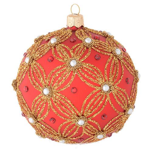 Bola de Navidad de vidrio soplado rojo con perlas y decoraciones oro 100 mm 2