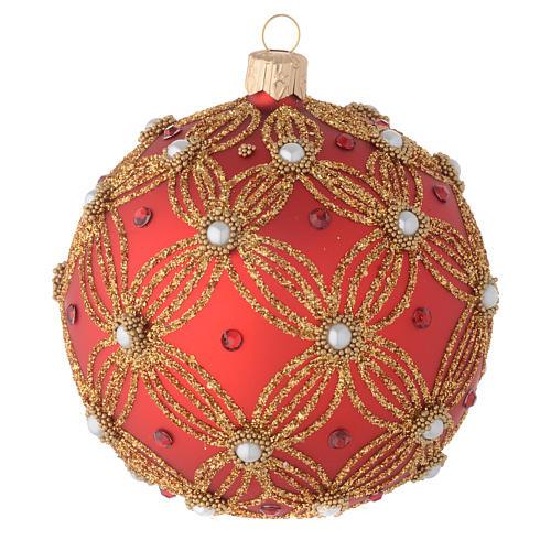 Bola de Navidad de vidrio soplado rojo con perlas y decoraciones oro 100 mm 3